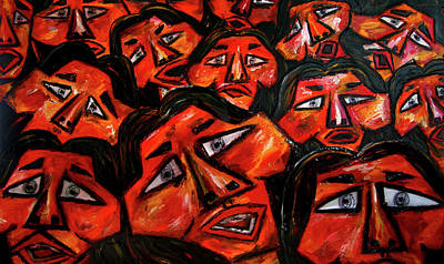 Faces In The Crowd Print by Karen Elzinga
