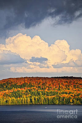 Cloud Formations Photograph - Fall Forest And Lake by Elena Elisseeva