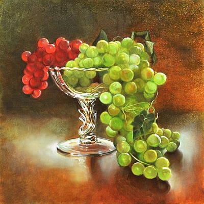 Fall Grapes Print by Cynthia Peterson