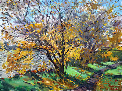 Autumn Landscape Painting - Fall Of Leaves by Ylli Haruni