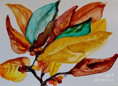Fall Painted Leaves And Berries Print by Marsha Heiken