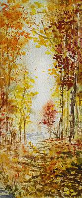 Orange Painting - Fall Tree In Autumn Forest  by Irina Sztukowski