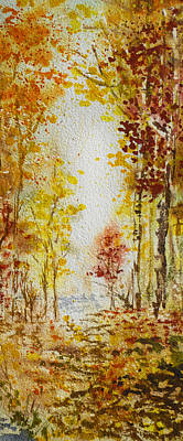 Fall Tree In Autumn Forest  Print by Irina Sztukowski