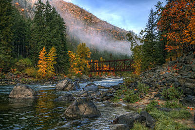 Granger Photograph - Fall Up The Tumwater by Brad Granger