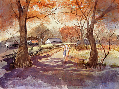 Watercolor Painting - Fall Walk by Barry Jones