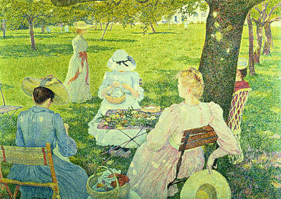 Family In The Orchard Print by Theo van Rysselberghe