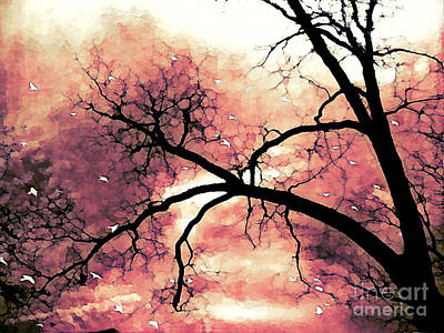 Fantasy Surreal Gothic Orange Black Tree Limbs  Print by Kathy Fornal