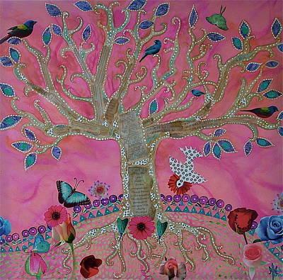 Bunting Mixed Media - Fantasy Tree On Pink by Teresa Grace Mock