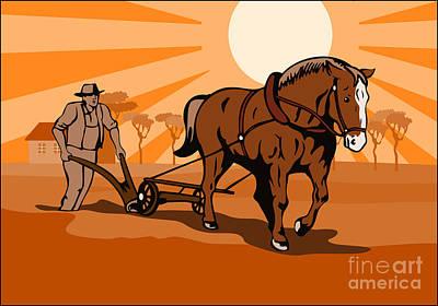 Farmer And Horse Plowing Farm Retro Print by Aloysius Patrimonio