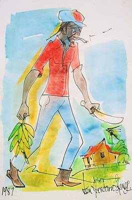 St Lucia Painting - Farmer by Carey Chen