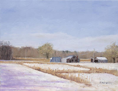 Farmland In Winter  Concord Massachusetts Original by Mark Pimentel