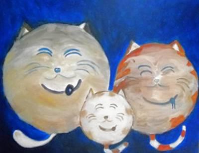 Gray Tabby Painting - Fat Cat Family by Marian Hebert