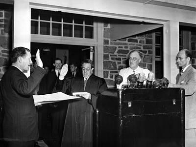 Swearing In Photograph - Fdr Presidency.  From Left Samuel Eliot by Everett