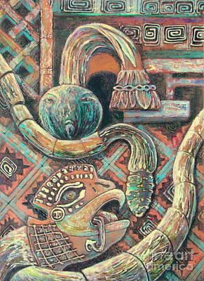 Ruins Mixed Media - Feathered Serpent  5 by Pamela Iris Harden