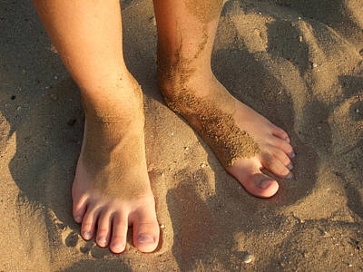 Feet Of A Child In The Sand Print by Matthias Hauser