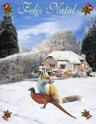 Portuguese Mixed Media - Felix Natal Portuguese Christmas Fox And Pheasant by Eric Kempson