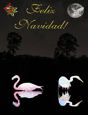 Eftalou Mixed Media - Felix Navidad Lesvos Salt Flat Birds Merry Christmas by Eric Kempson