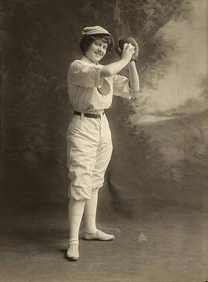 Female Baseball Player Print by Granger