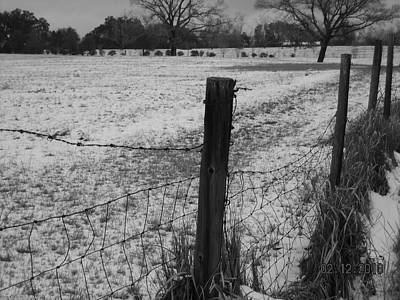 Fence And Snow Print by Floyd Smith
