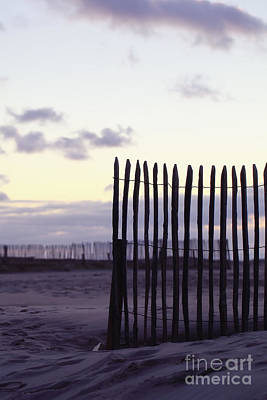 Fence At Beach With Evening Colors Original by LHJB Photography