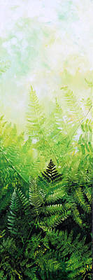 Pentaptych Painting - Ferns 3 by Hanne Lore Koehler