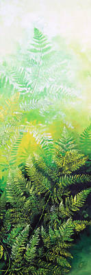 Pentaptych Painting - Ferns 5 by Hanne Lore Koehler