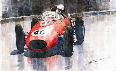 1958 Painting - Ferrari Dino 246 F1 Monaco Gp 1958 Wolfgang Von Trips by Yuriy  Shevchuk
