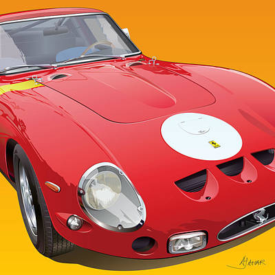 Prancing Digital Art - Ferrari Gto Detail by Alain Jamar