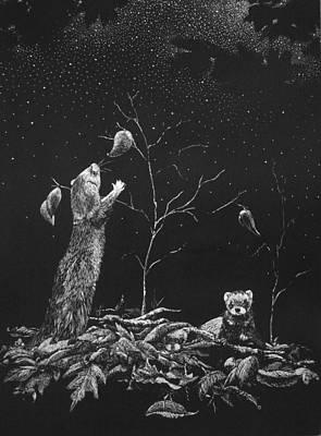 Ferret Dreams Print by Linda Creapeau