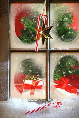 Festive Holiday Window Print by Sandra Cunningham