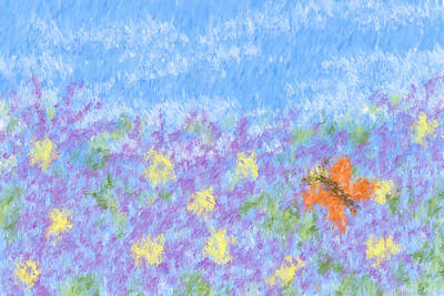 Asters Painting - Field Of Asters - Impressionism by Heidi Smith