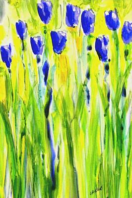 Print Of Irises Painting - Field Of Blue by Ron LaRue