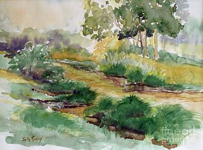 Babbling Brook Painting - Field Of Streams by Sally Simon