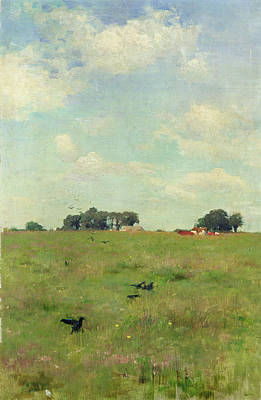 Crow Painting - Field With Trees And Sky by Walter Frederick Osborne
