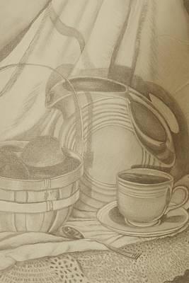 Fiestaware Drawing - Fiesta Kitchen by Angela Mullhatten