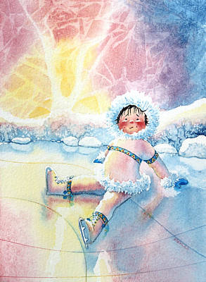Illustration For Childrens Book Painting - Figure Skater 10 by Hanne Lore Koehler