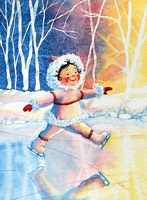 Illustration For Childrens Book Painting - Figure Skater 11 by Hanne Lore Koehler