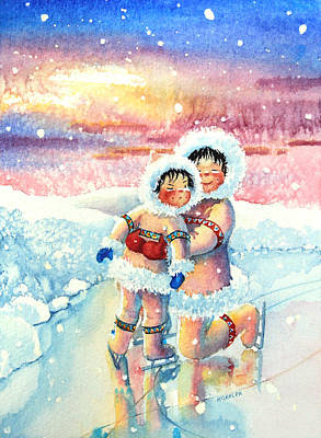 Illustration For Childrens Book Painting - Figure Skater 7 by Hanne Lore Koehler
