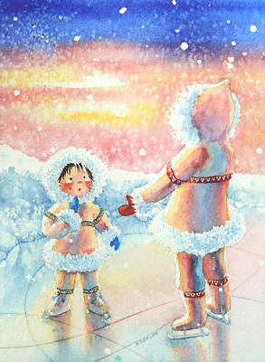Illustration For Childrens Book Painting - Figure Skater 8 by Hanne Lore Koehler