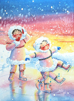 Illustration For Childrens Book Painting - Figure Skater 9 by Hanne Lore Koehler