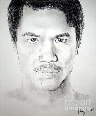 Boxing Drawing - Filipino Superstar And World Champion Boxer Manny Pacquiao by Jim Fitzpatrick