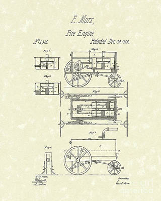 Truck Drawing - Fire Engine 1845 Patent Art by Prior Art Design