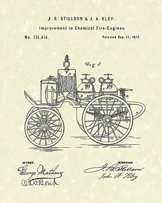 Chemical Drawing - Fire Engine 1862 Patent Art by Prior Art Design