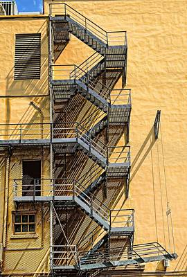 Downtown Stairs Photograph - Fire Escape by Rudy Umans