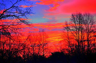 Eagls Digital Art - Fire In The Sky 2 by Aron Chervin