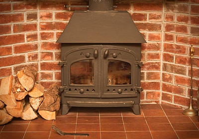 Old Home Place Photograph - Fireplace by Tom Gowanlock