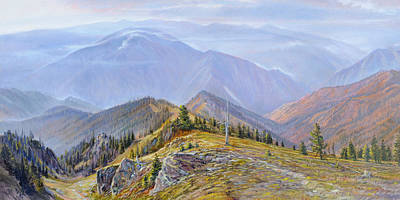 Salmon River Idaho Painting - Fires Re-creation by Steve Spencer