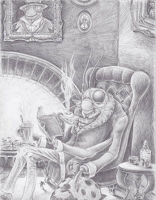 Grasshopper Drawing - Fireside Companion by Canis Canon