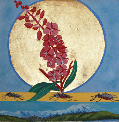 Egg Tempera Painting - Fireweed In Summer by Amy Reisland-Speer