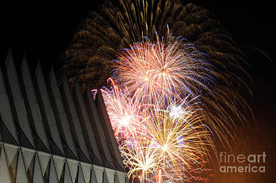 Fireworks Explode Over The Air Force Print by Stocktrek Images